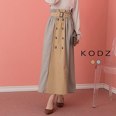 東京著衣-KODZ  摩登質感花瓣腰綁帶雙排釦撞色長裙-S.M.L(共兩色)