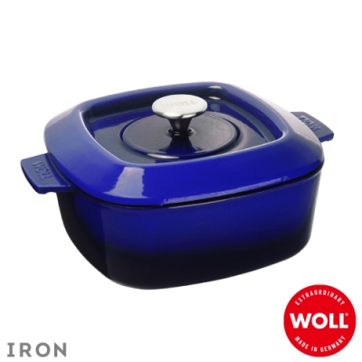 WOLL德國歐爾 IRON方型鑄鐵鍋24cm-藍