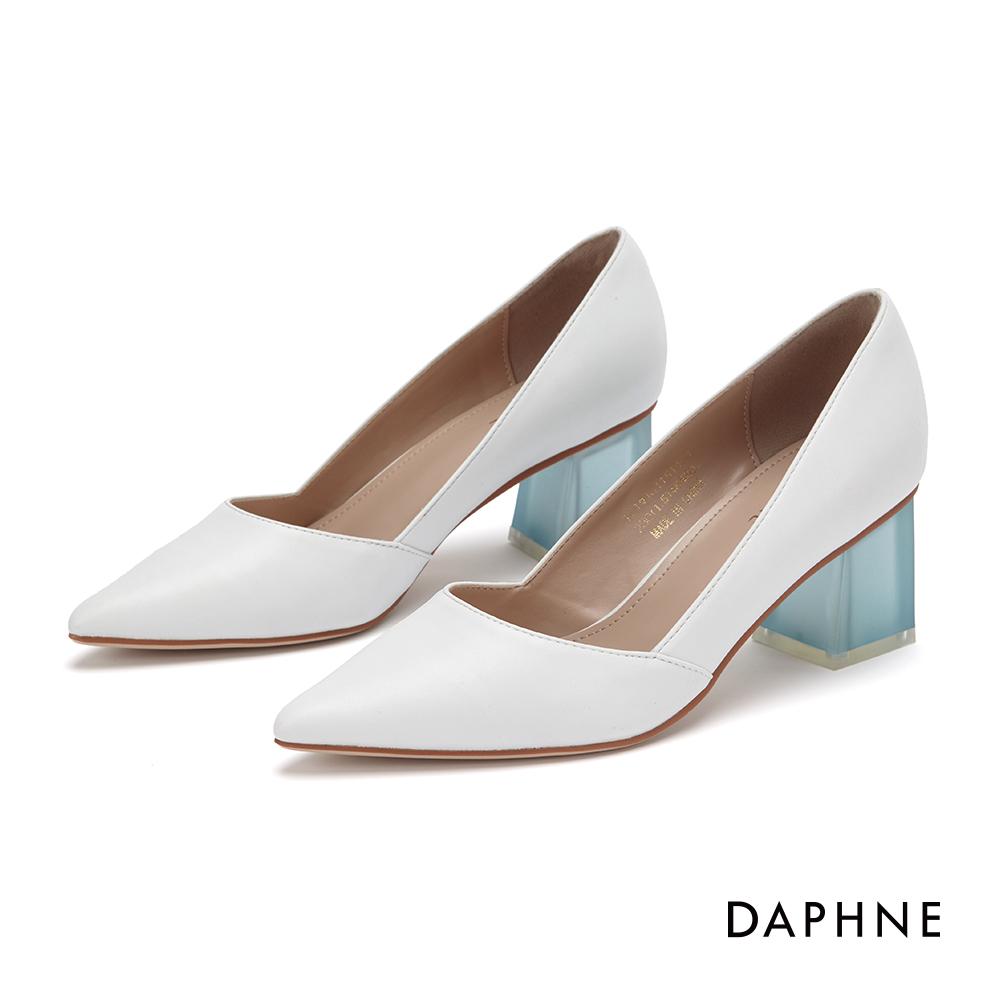 達芙妮DAPHNE 高跟鞋-經典撞色復古粗跟鞋-白