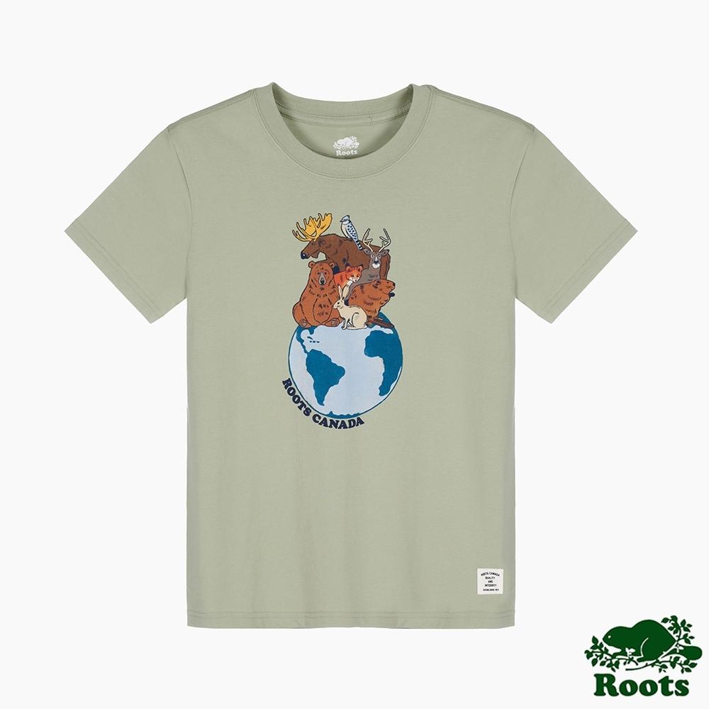 Roots 女裝- 環保有機棉系列 愛護地球短袖T恤-綠色