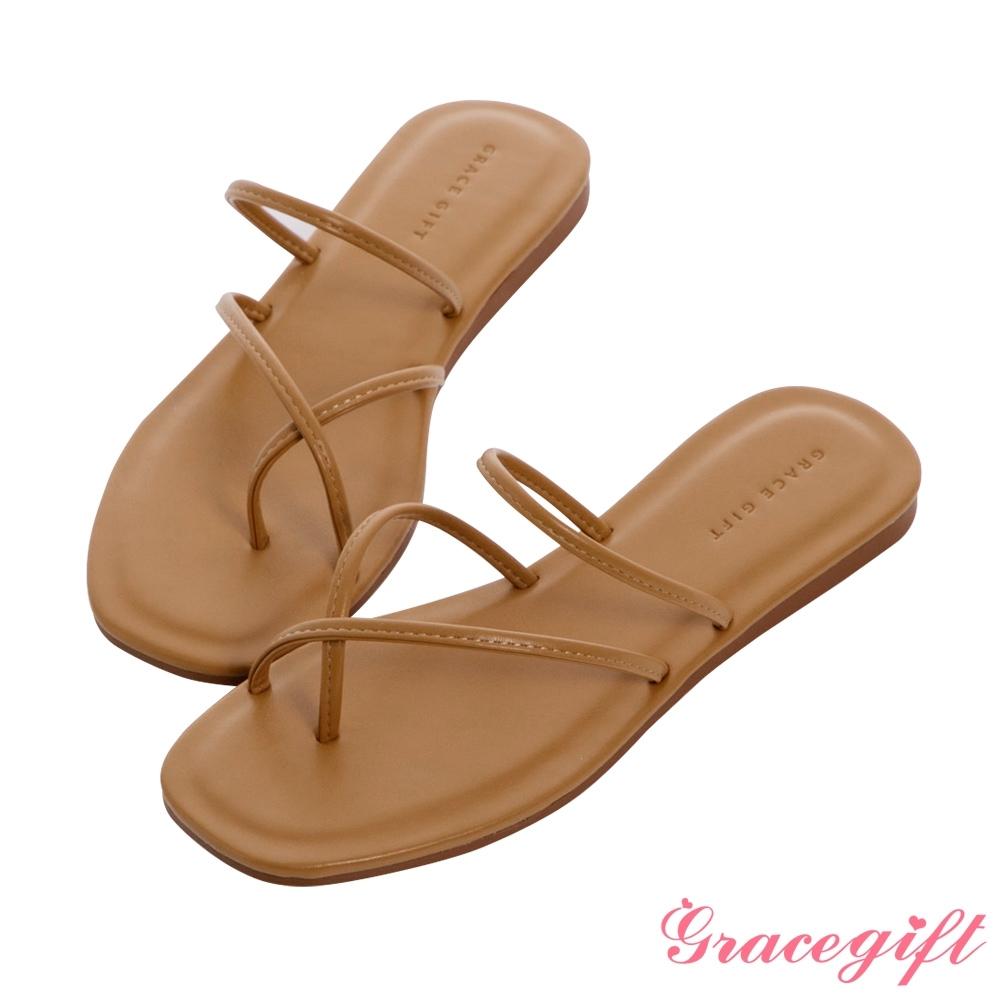 Grace gift-交叉套趾平底涼拖鞋 駝