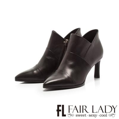 Fair Lady皮革層次拼接尖頭高跟短靴 黑