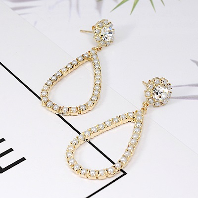Prisme美國時尚飾品 水滴造型珍珠水鑽 金色耳環 耳針式