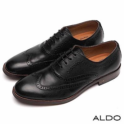 ALDO 原色真皮英式雕花綁帶式木紋粗跟紳士男鞋~尊爵黑色