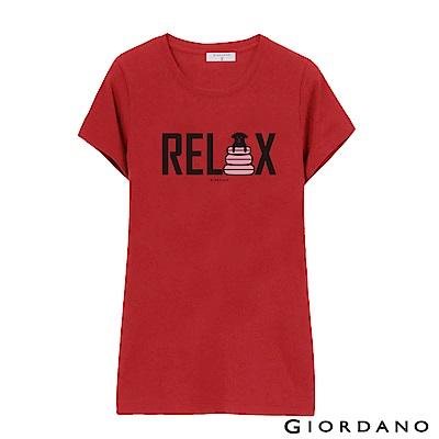 GIORDANO 女裝假期休閒印花T恤-43 高貴紅