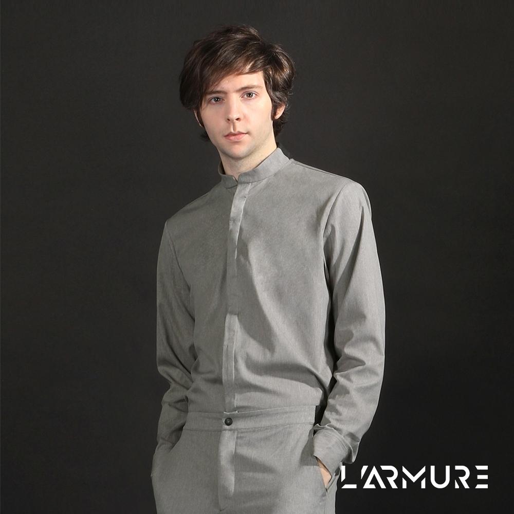 L'ARMURE 男裝 立領 襯衫 灰色