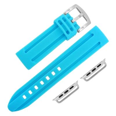 Apple Watch 蘋果手錶替用錶帶 加厚 矽膠錶帶-藍色