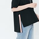 H:CONNECT 韓國品牌 女裝-撞色印字側開岔上衣-黑