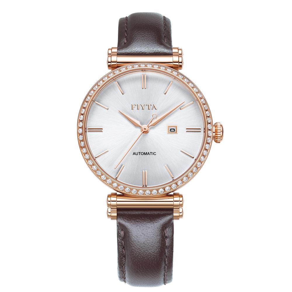 FIYTA飛亞達 IN系列時尚玫瑰金咖啡色皮帶機械女錶LA850008.PWKD-34mm