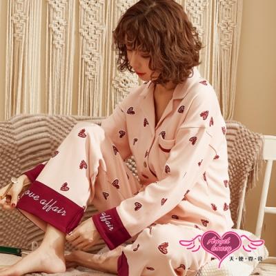 居家睡衣 紅心聚集 印花二件式長袖哺乳孕婦月子休閒服(粉桔F) AngelHoney天使霓裳