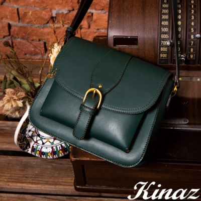 KINAZ 掀蓋古金拉鍊硬挺斜背包-復刻墨綠-復古市集系列