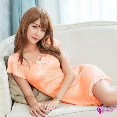 Sexy Cynthia 甜美小蓋袖蕾絲柔緞連身裙睡衣-橘