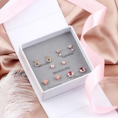 梨花HaNA 韓國925銀桃紅微鑲愛情一週間五對入-珠寶夢想
