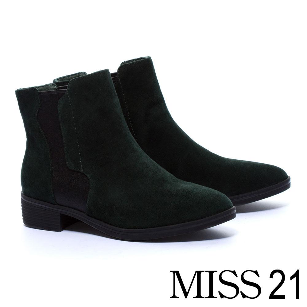 短靴 MISS 21 獨特拼接設計異材質真皮粗跟短靴-綠