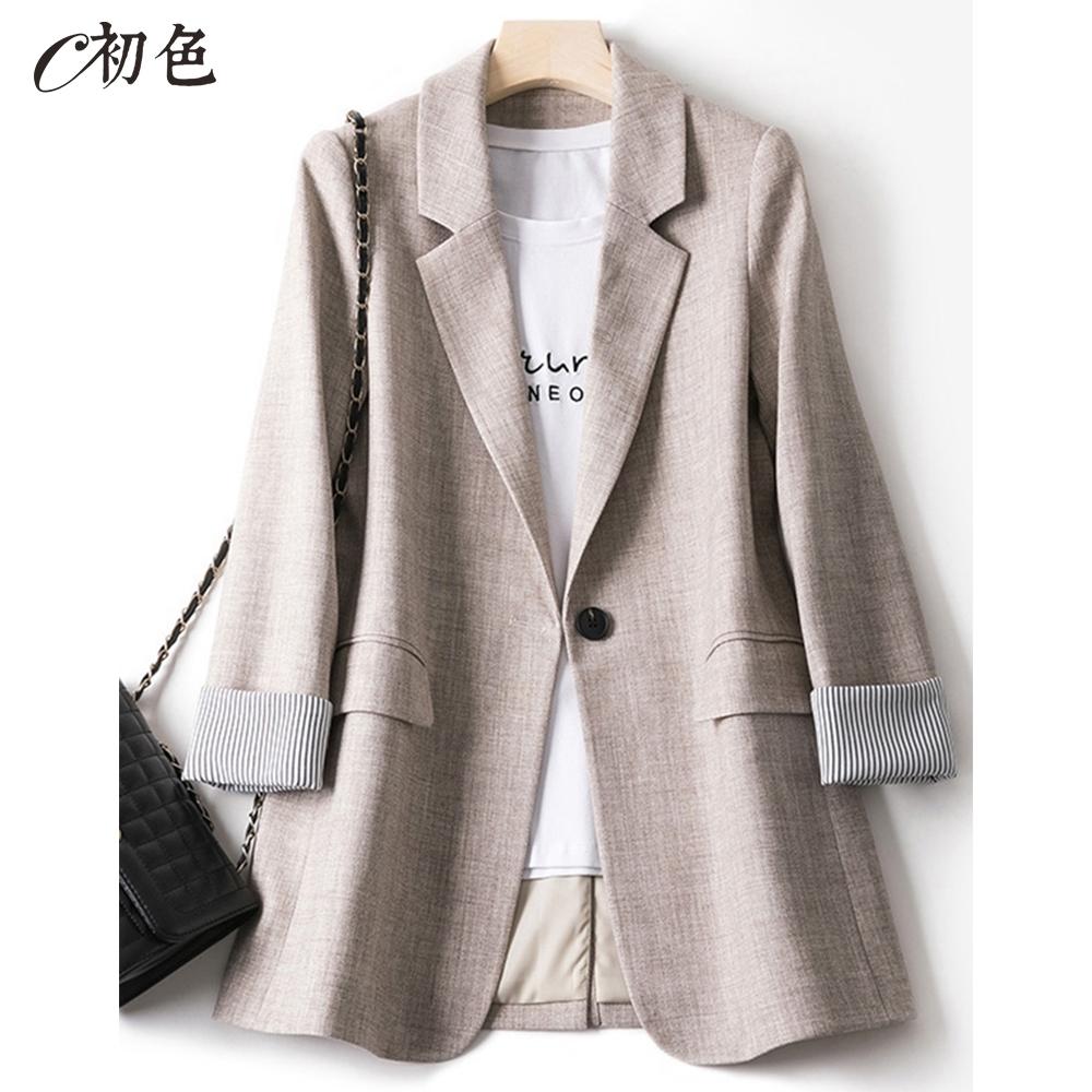初色  韓版休閒西裝外套-共3色-(M-2XL可選)