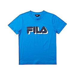 FILA KIDS 童短袖純棉圓領上衣-寶藍 1TET-4904-AB