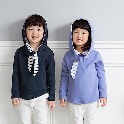 親子款~高含棉領口綁帶連帽衛衣/上衣-OB大尺碼