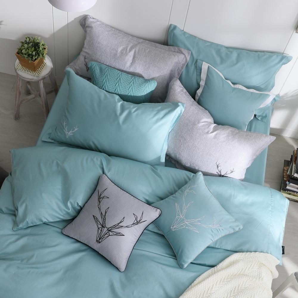 OLIVIA  Saul 湖綠 標準雙人床包歐式枕套三件組 300織匹馬棉系列 台灣製