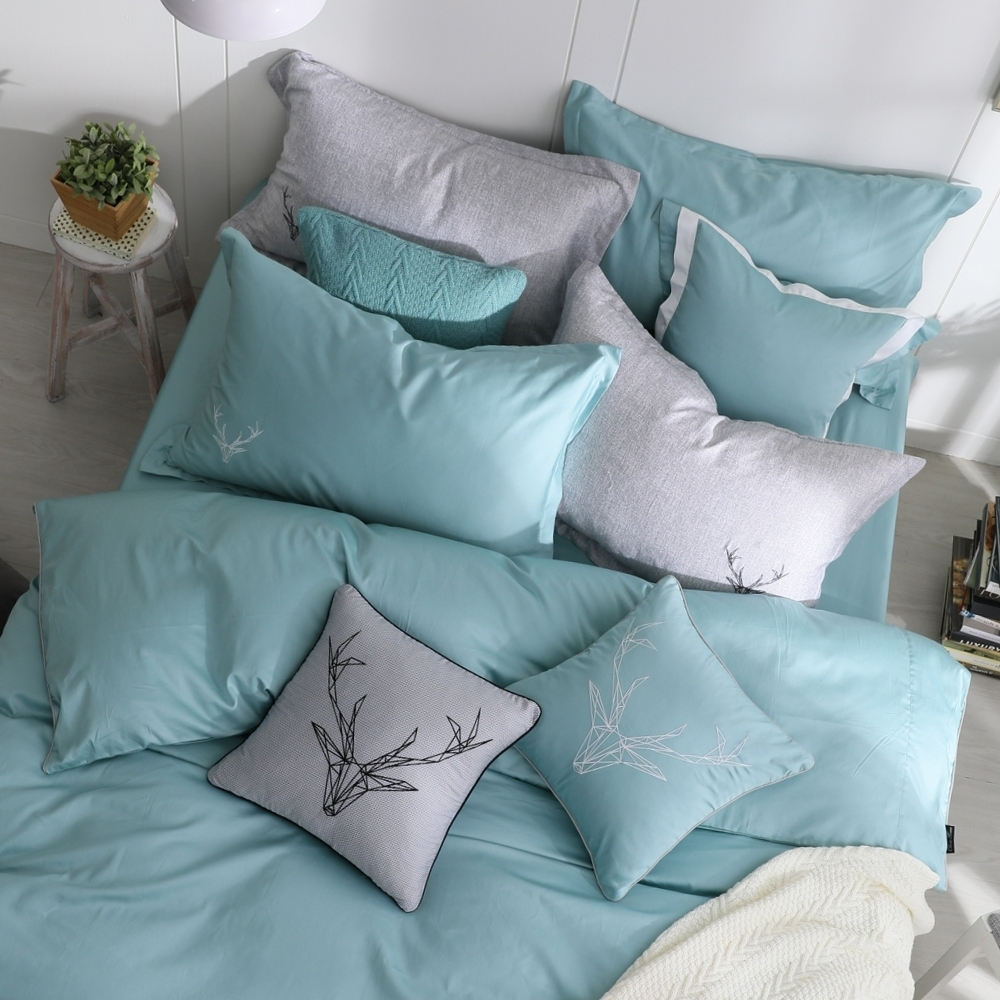 OLIVIA  Saul 鐵灰 加大雙人床包歐式枕套三件組 300織匹馬棉系列 台灣製