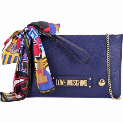 LOVE MOSCHINO 繽紛印花絲巾扁型手拿/鍊帶包(藍色)