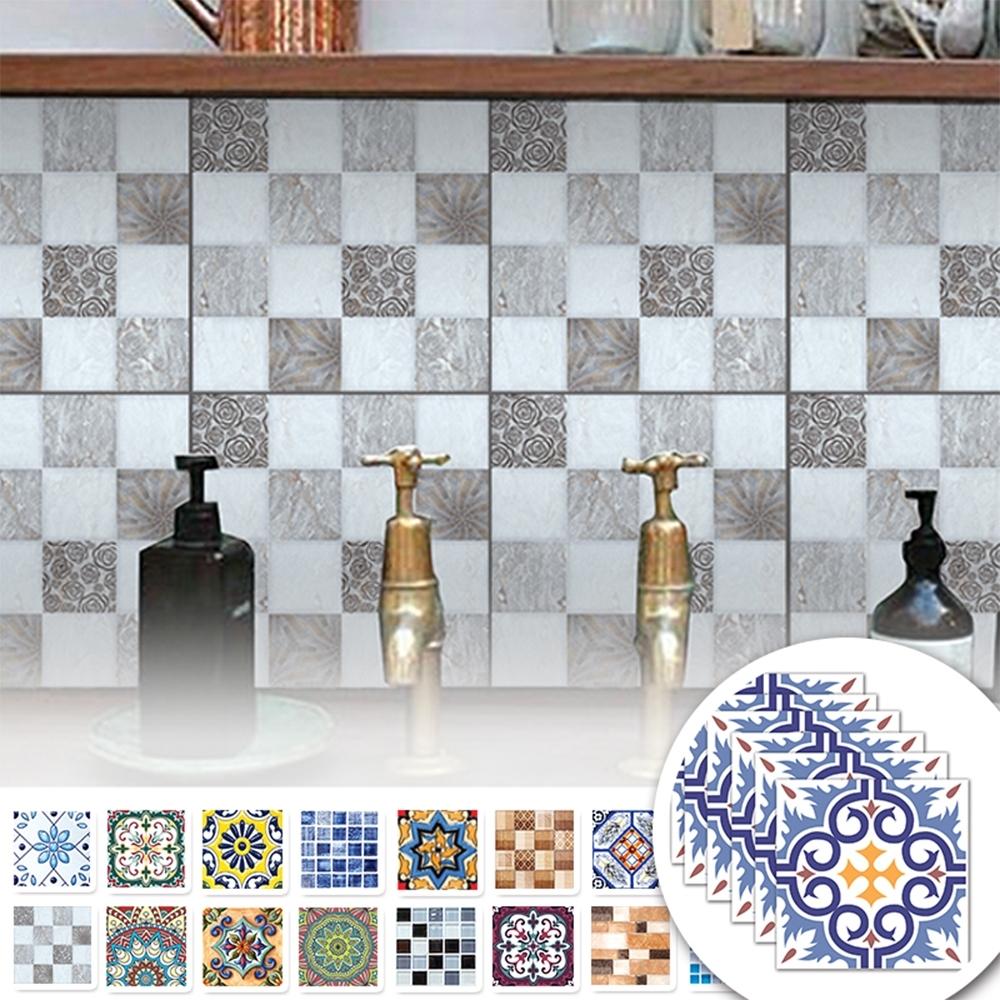 半島良品 1組/6片裝 北歐風DIY自黏仿真廚房貼瓷磚貼