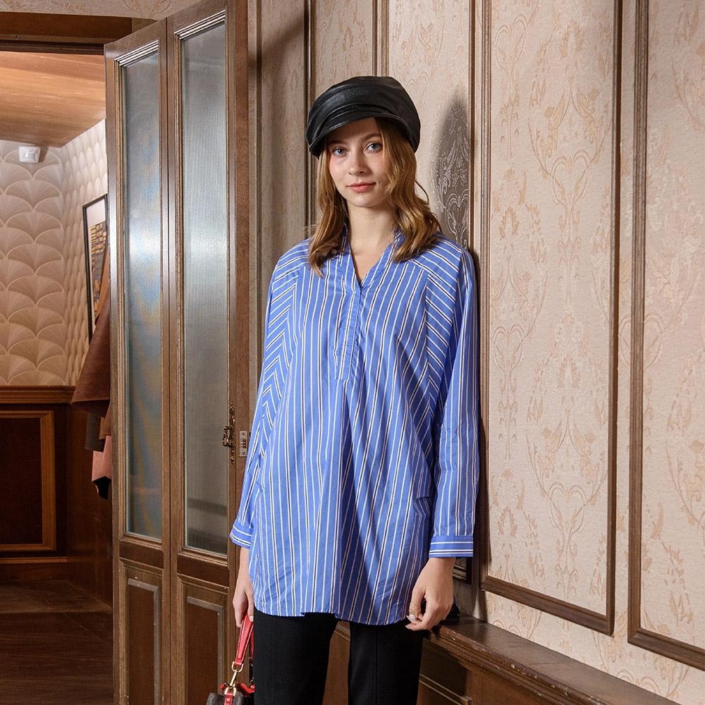 【KiKi】蝙蝠袖-女七分袖直條紋襯衫(藍色/魅力商品/版型適中)