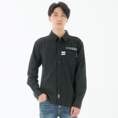 BIG TRAIN 配條潮風襯衫-男-黑色