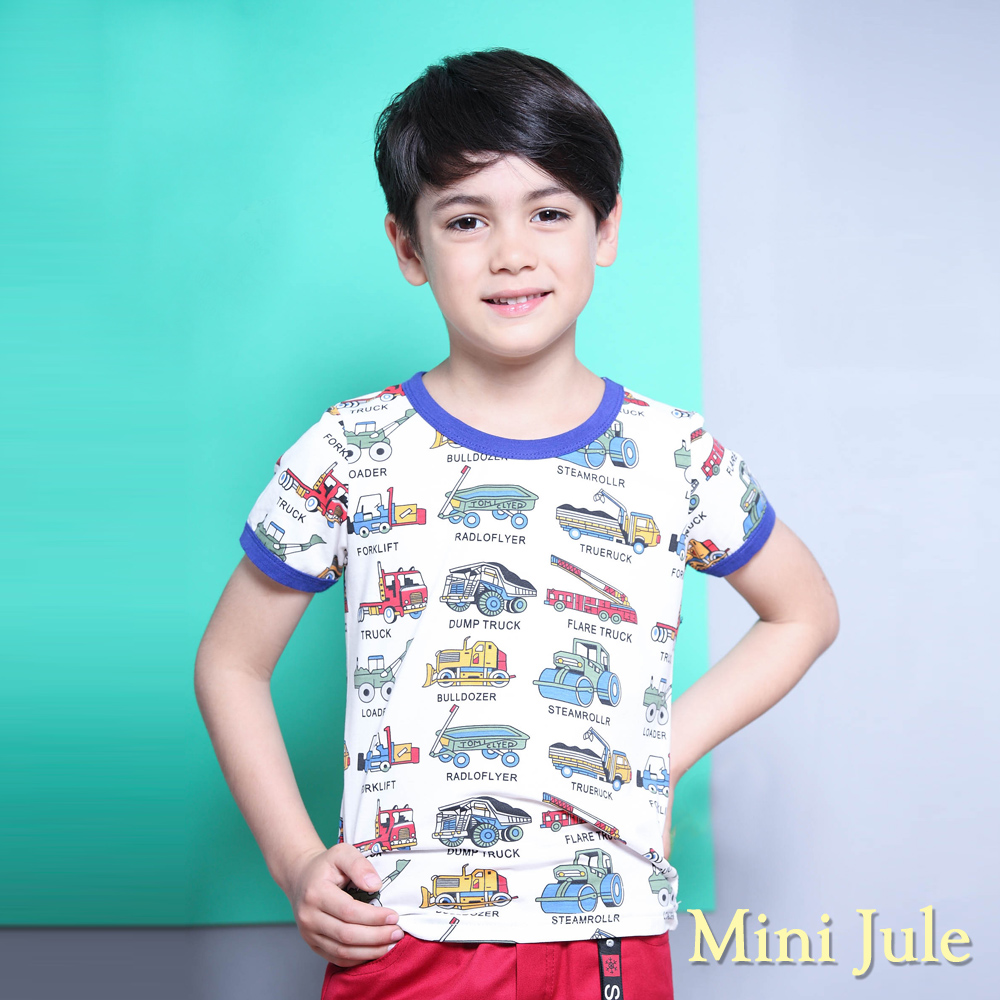 Mini Jule 上衣 工程車字母滿版圖樣短袖T恤(白)