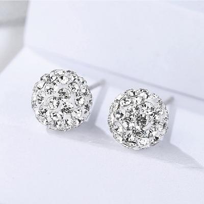 【ANPAN愛扮】S925純銀飾 韓東大門滿鑽繡球花耳針式耳環