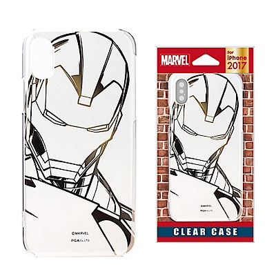 iPhone X Marvel PC/透明金箔 手機硬殼 5.8吋-鋼鐵人