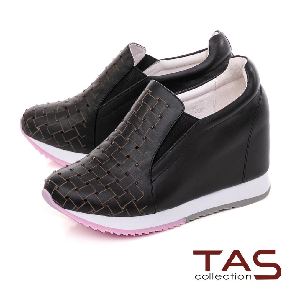 TAS水鑽編織格紋素面內增高休閒鞋–個性黑