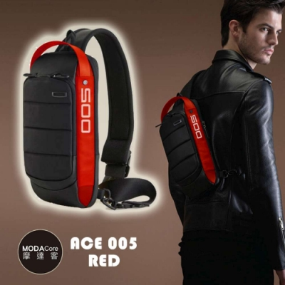 摩達客 韓國COOD GEAR-ACE005R低調時尚沉穩防潑水紅黑輕便側肩包