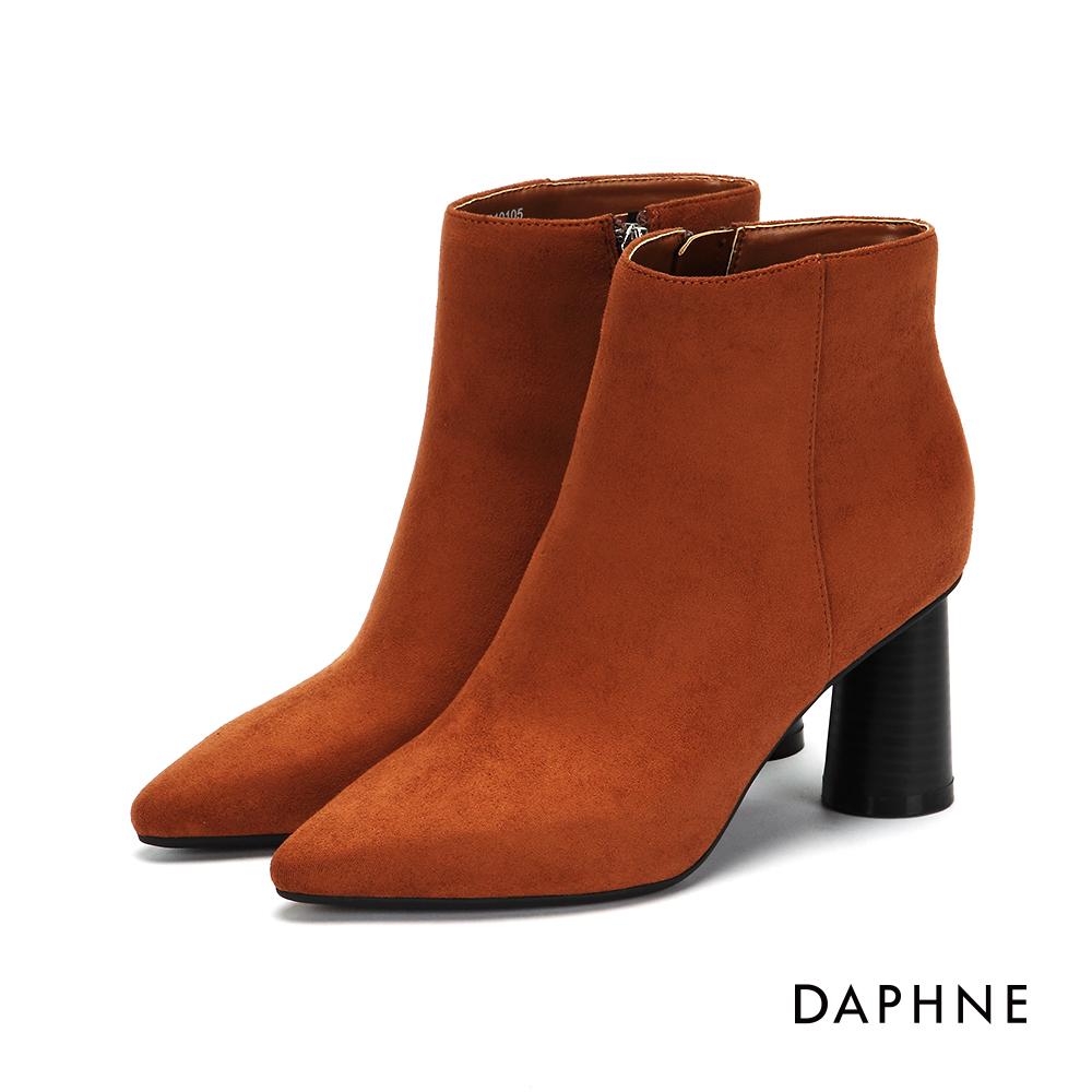 達芙妮DAPHNE 踝靴-素色絨面拼接粗高跟踝靴-棕