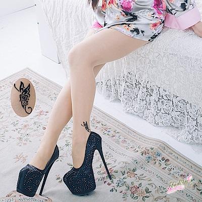 絲襪 透膚蝴蝶開襠絲襪假刺青質感美膚連身褲襪 流行E線