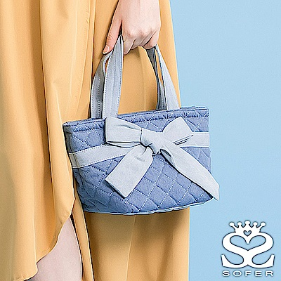 SOFER 蝴蝶結女孩 牛仔手提包 共2色