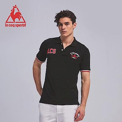 le coq sportif 法國公雞牌吸濕排汗立體繡花短袖POLO衫 男-黑