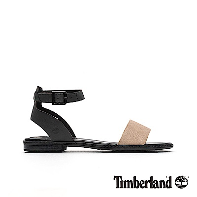 Timberland 女款黑色撞色一字繫帶涼鞋|A1VHU