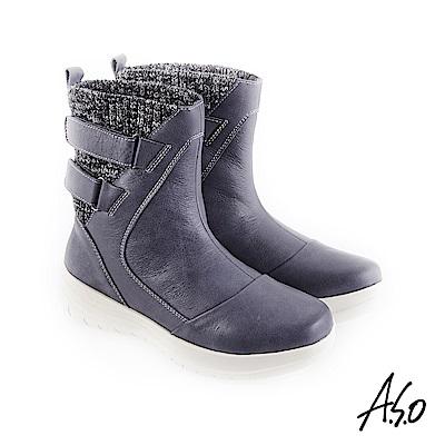 A.S.O 異材質拼接 布料拼接牛皮休閒靴 藍