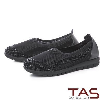 TAS水鑽拼接透氣網布懶人休閒鞋-百搭黑