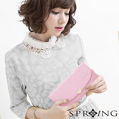 SPRING-怦然心動釦式長夾-櫻花粉紅