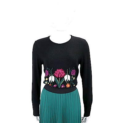 BLUGIRL 花卉圖繡黑色喀什米爾羊毛衫