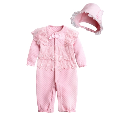 Baby 童衣 新生兒連身衣 空氣棉蕾絲睡袋 附帽子 92039