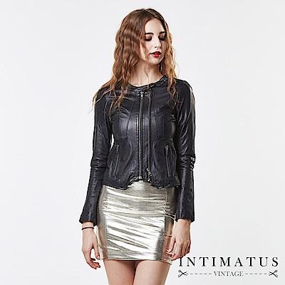 INTIMATUS 真皮 韓風修身短板剪裁雙拉鍊小羊皮皮衣 精典黑