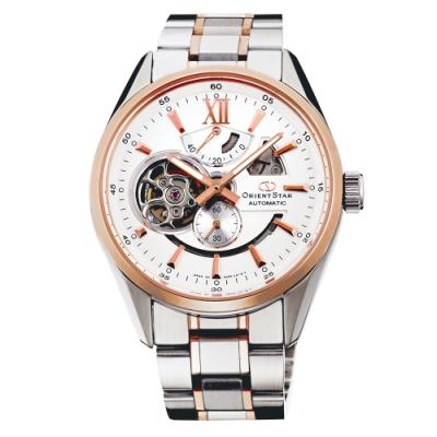 ORIENT 東方錶 東方之星縷空機械手錶SDK05001W-白X玫瑰金框/41mm