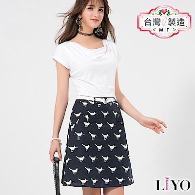 LIYO理優歐風假兩件式印花洋裝(白)