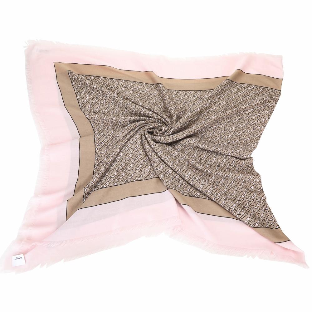 BURBERRY 展示品 TB 花押字印花粉駝色輕盈喀什米爾羊毛圍巾(勾紗)