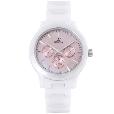 SIGMA 簡約時尚三眼陶瓷手錶-粉X白/36mm