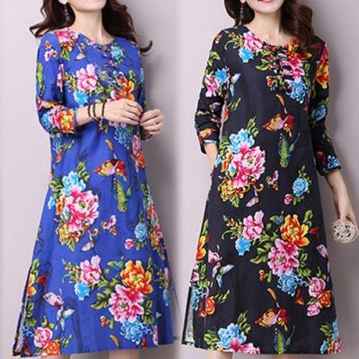 【韓國K.W.】中式棉麻復古印花洋裝(兩色可選)