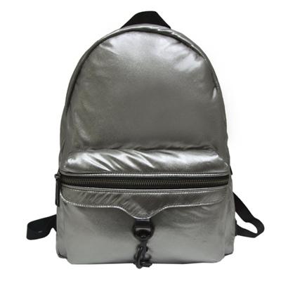 REBECCA MINKOFF 金屬感蓬鬆尼龍後背包-銀色