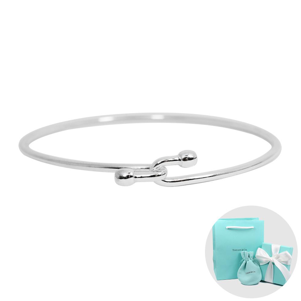 Tiffany&Co. 圓珠交叉扣925純銀細款手鍊手環(大)